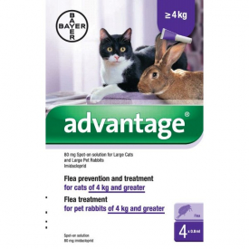Advantage 100mg/ml Spot On Flea Control for Large Cats - 4 Pipettes