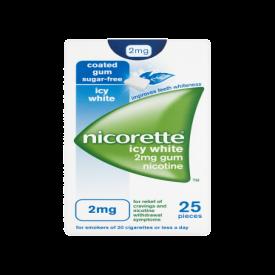 Nicorette Icy White 2mg Gum – 25 Pieces