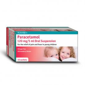 Paracetamol Strawberry Suspension - 10 x 120mg/5ml Sachets (Brand May Vary)