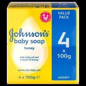 Johnson's Baby Soap With Honey - 4 x 100g Bars