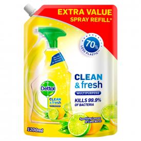 Dettol Clean & Fresh Multipurpose Spray Lemon Spray Refill - 1200ml