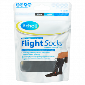 Scholl Flight Socks Black 1 Pair - Shoe Sizes 3-6
