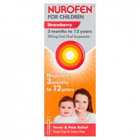 Nurofen For Children Strawberry 100mg/5ml Oral Suspension - 200ml