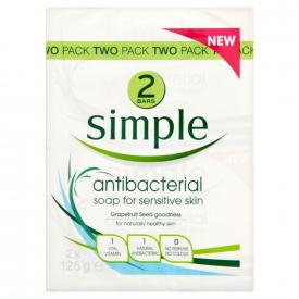 Simple Anti-Bacterial Soap For Sensitive Skin 2x125g