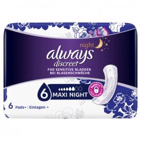 Always Discreet For Sensitive Bladder Maxi Night - 6 Pads