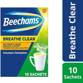 Beechams Breathe Clear Sachets Hot Honey & Lemon Menthol  - 10 Sachets