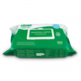 Clinell Universal Multi Purpose Antibacterial Wipes - Pack of 200
