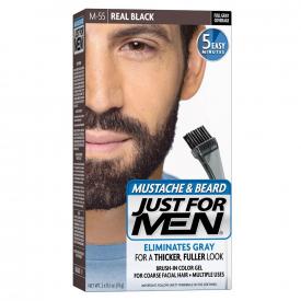 Just For Men Moustache & Beard Brush-In Colour Gel Real Black M-55