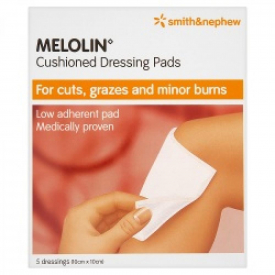 Melolin Cushioned Dressing Pads 10cmx10cm 5 Dressings