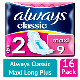 Always Classic Maxi (Size 2) Sanitary Towels 9 (Case of 16)