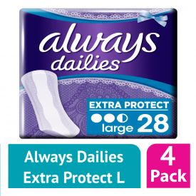 Always Dailies Extra Protect Panty Liners Large 28 (Case of 4)