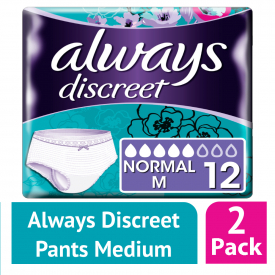 Always Discreet Incontinence Pants Normal Medium 12 (Case of 2)