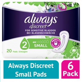 Always Discreet Incontinence Pads Small 20 (Case of 6)
