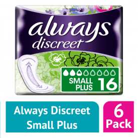 Always Discreet Incontinence Pads Small Plus 16 (Case of 6)