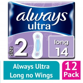 Always Ultra Long (Size 2) Sanitary Towels 14 (Case of 12)