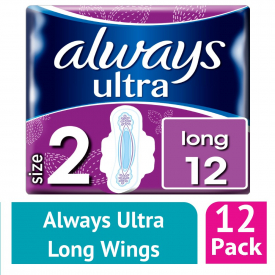 Always Ultra Long (Size 2) Sanitary Towels Wings 12 (Case of 12)