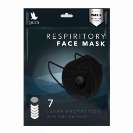 Black Respirator 7 Ply Face Covering Individually Wrapped