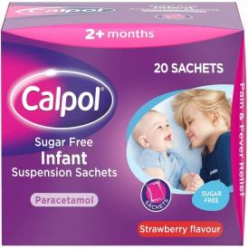 Calpol Infant Sugar Free Strawberry Suspension - 20 Sachets