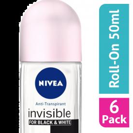 Nivea Black & White Original Roll-On Deodorant - (Case Of 6)