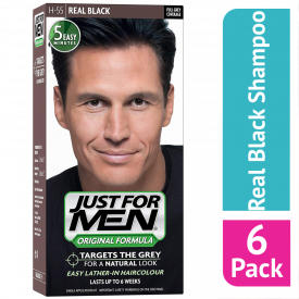 Just For Men Shampoo Hair Colourant Real Black - (Case Of 6)