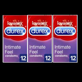 Durex Thin Feel Extra Lubricated Condoms 12 Condoms - Case Of 3