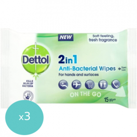 Dettol 2-In-1 Antibacterial Wipes Pack of 15 - (Case of 3)