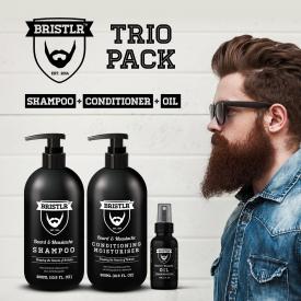 BRISTLR Beard and Moustache Trio Set - Shampoo, Conditioner and Oil