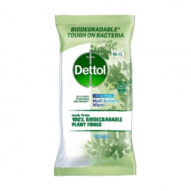 Dettol Biodegradable Antibacterial Surface Cleanser Wipes - Pack of 90