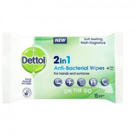 Dettol 2-In-1 Antibacterial Wipes - Pack of 15