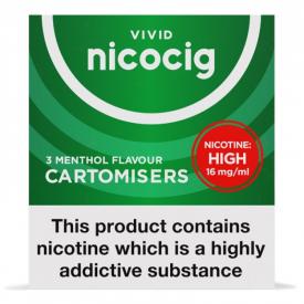 Nicocig Menthol Flavour Cartomiser Refills High Strength - 3 x 16mg