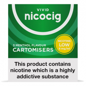 Nicocig Menthol Flavour Cartomiser Refills Low Strength - 3 x 6mg