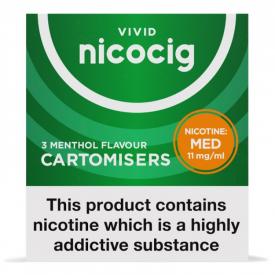Nicocig Menthol Flavour Cartomiser Refills Medium Strength - 3 x 11mg