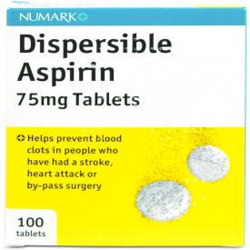 Aspirin Dispersible Tablets 75mg – 100 Tablets (Brand May Vary)