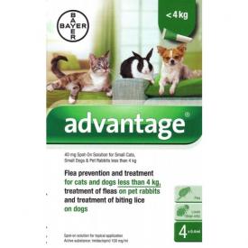 Advantage 40mg Spot On Flea Control For Small Pets - 4 Pipettes