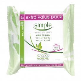 Simple Cleansing Facial Wipes Twin Pack – 2x25 Wipes