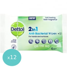 Dettol 2-In-1 Antibacterial Wipes Pack of 15 - (Case of 12)